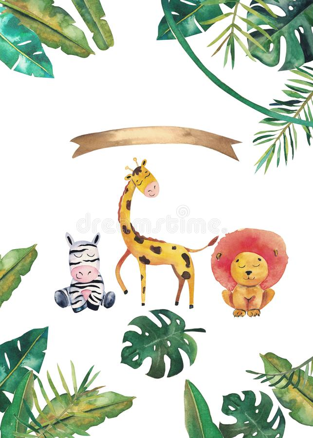 Invitation d'aquarelle avec les animaux sauvages et les feuilles de jungle Illustration tir?e par la main d'enfants illustration de vecteur