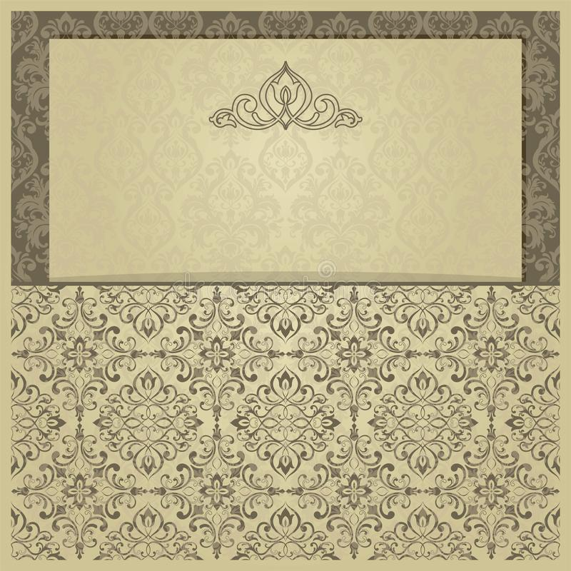 Invitation d'or avec le cadre L'or carde des calibres pour des ?conomies la date, ?pousant invite, des cartes de voeux, cartes po illustration libre de droits