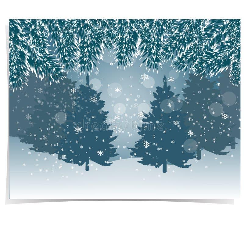 Invitation d'an neuf Le sapin bleu et réaliste s'embranche avec la neige dans la forêt froide d'hiver à l'arrière-plan Noël illustration libre de droits