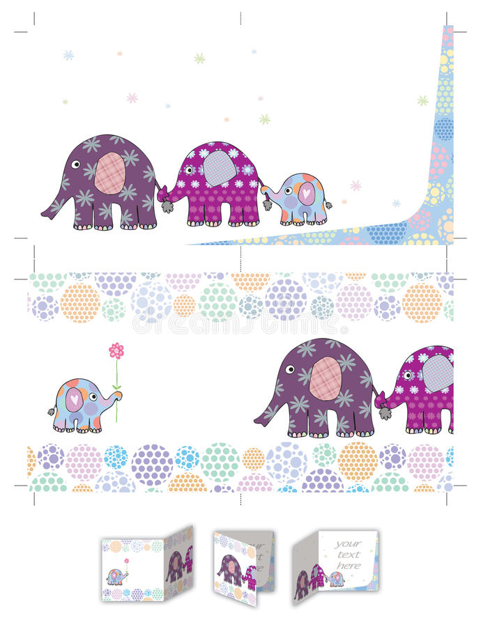 Invitation de baptême de famille d'éléphant illustration stock