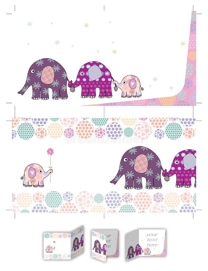 Invitation de baptême de famille d'éléphant pour la fille illustration stock