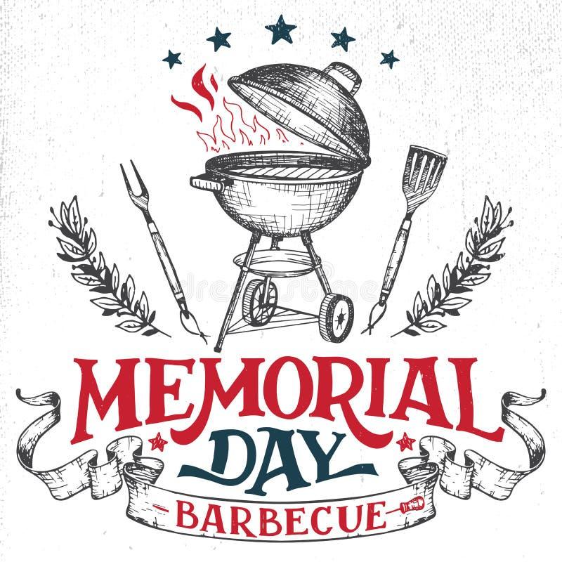 Invitation de barbecue de carte de voeux de Memorial Day illustration libre de droits