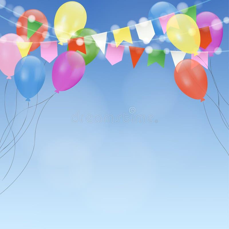 Invitation de carte d'anniversaire avec les ballons et les drapeaux lumineux Décoration de réception en plein air illustration de vecteur