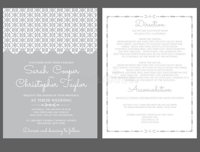 Invitation de carte d'invitation de noces d'argent avec des ornements illustration stock