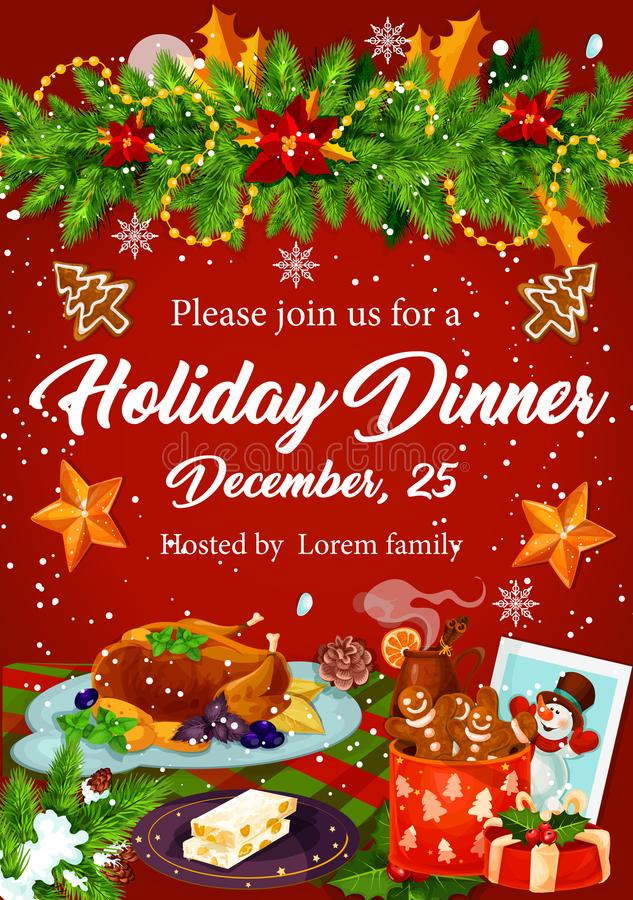 Invitation de dîner de Noël pour la conception de partie de Noël illustration stock