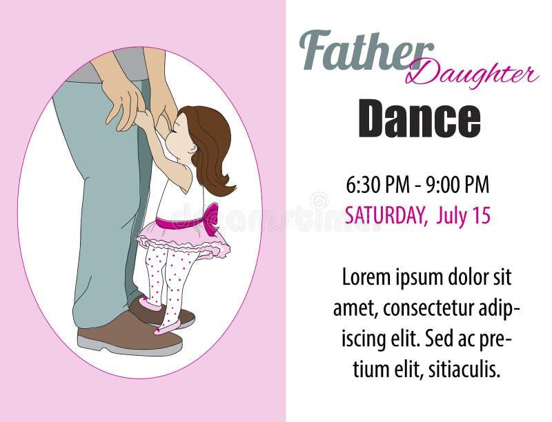 Invitation de danse de fille de papa, affiche Vecteur illustration de vecteur