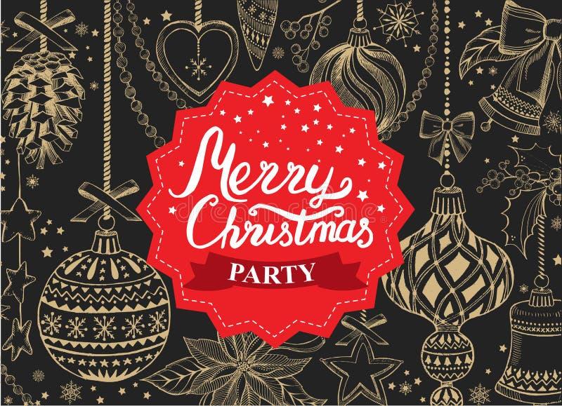 Invitation de fête de Noël, restaurant de menu de nourriture illustration libre de droits
