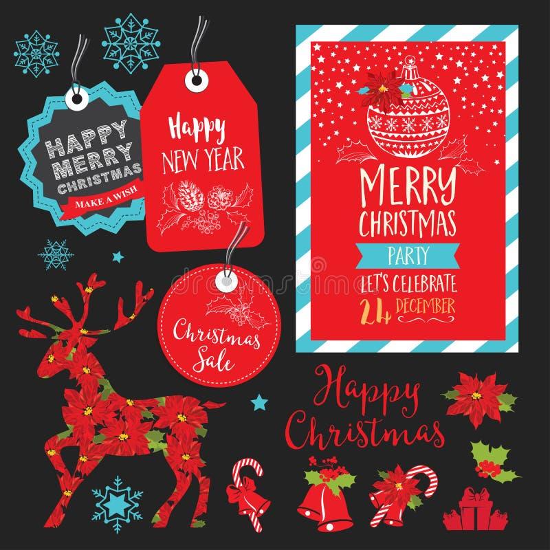Invitation de fête de Noël, restaurant de menu de nourriture illustration de vecteur