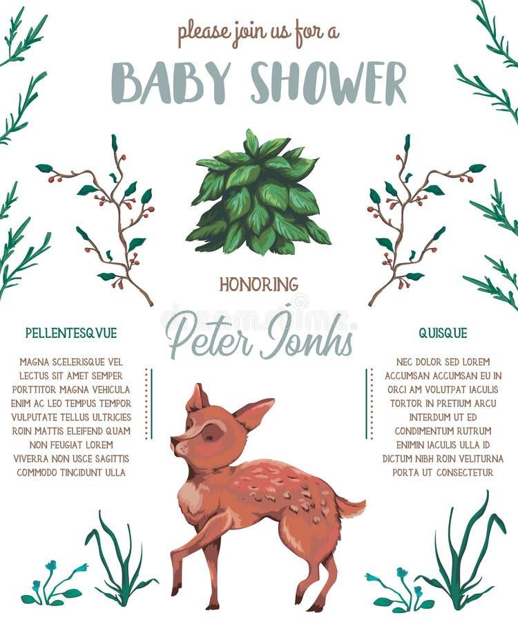 Invitation de fête de naissance avec les cerfs communs, le buisson, les fleurs, les baies et les feuilles de bébé Personnage de d illustration libre de droits