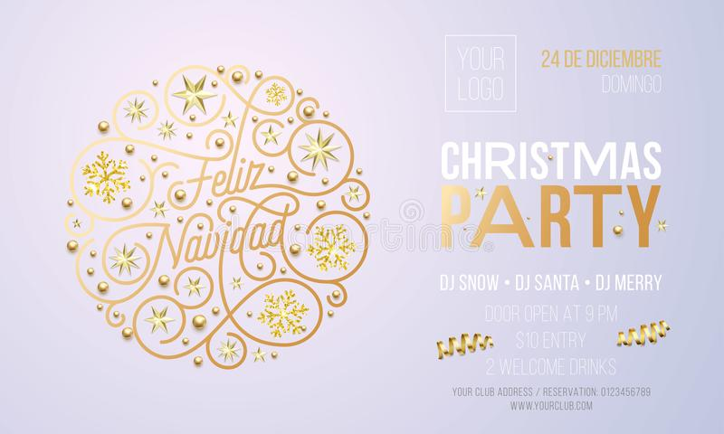 Invitation de fête de Noël pour le calibre de conception de célébration de vacances de Feliz Navidad d'Espagnol Partie d'entrepri illustration stock