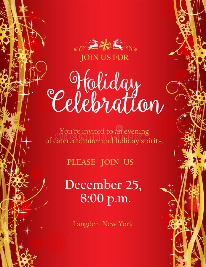 Invitation de fête de vacances avec avec les flocons de neige décoratifs d'or illustration libre de droits