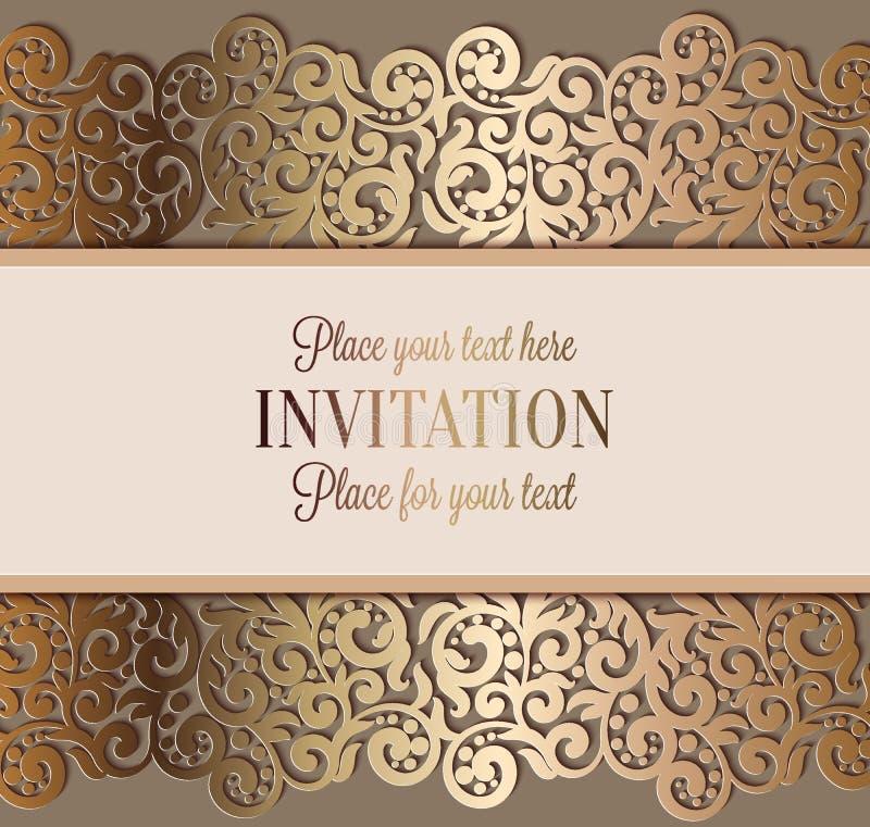 Invitation de luxe antique de mariage, or sur le beige illustration de vecteur