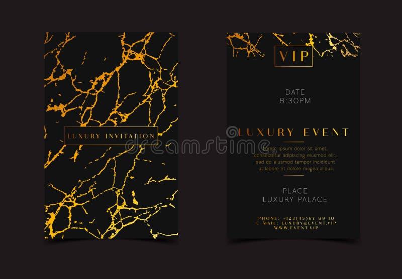 Invitation de luxe d'or noir pour l'événement de VIP Carte de voeux élégante avec la texture d'or de marbre royale Calibre bon po illustration libre de droits