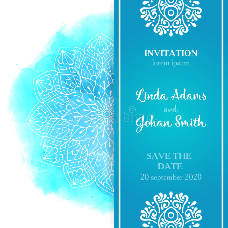 Invitation de luxe de mariage de vecteur avec le mandala illustration de vecteur
