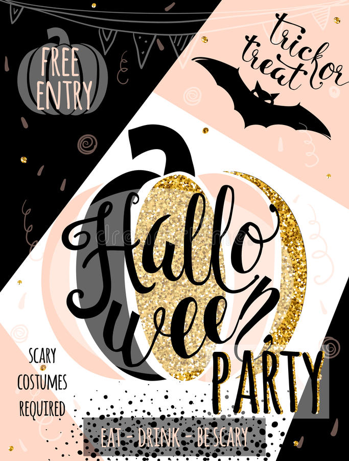 Invitation de luxe de scintillement d'illustration de vecteur de Halloween de faire la fête illustration stock