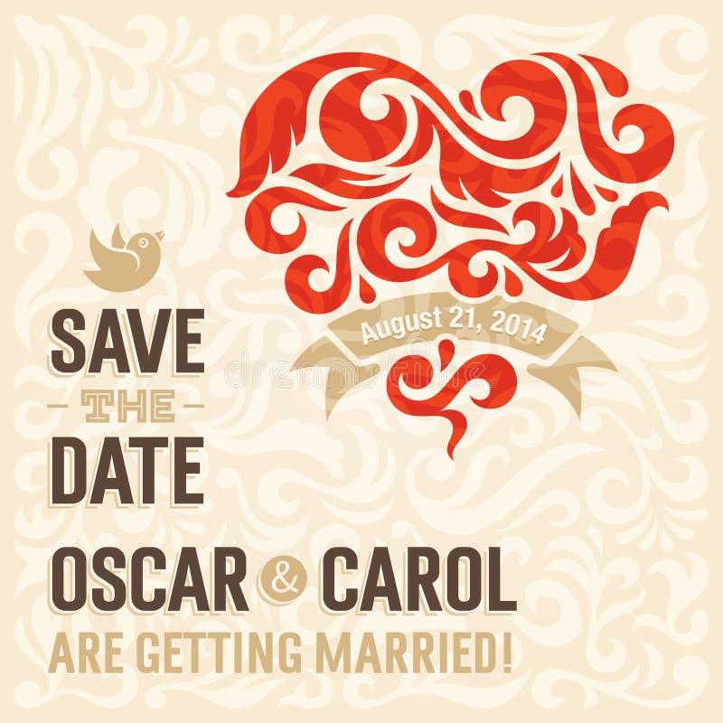 Invitation 3 de mariage illustration de vecteur