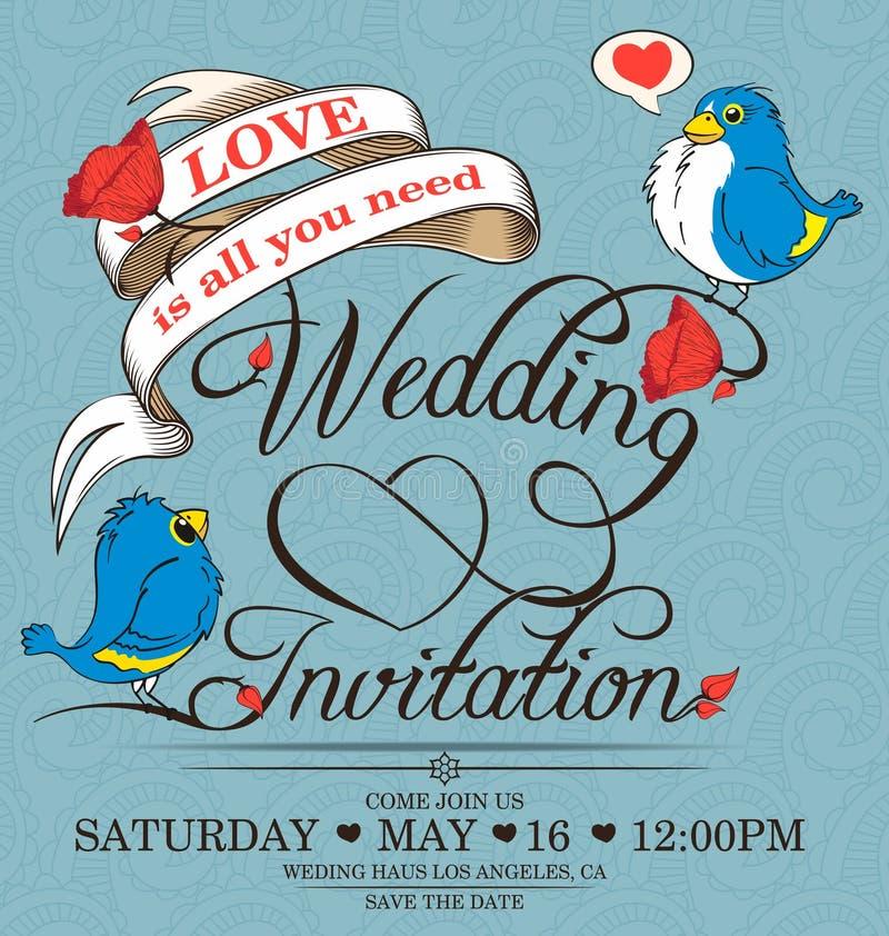 Download Invitation de mariage illustration de vecteur. Illustration du calligraphie - 76075134
