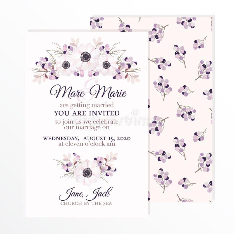 Invitation de mariage avec des fleurs anémone, branches et baies illustration de vecteur