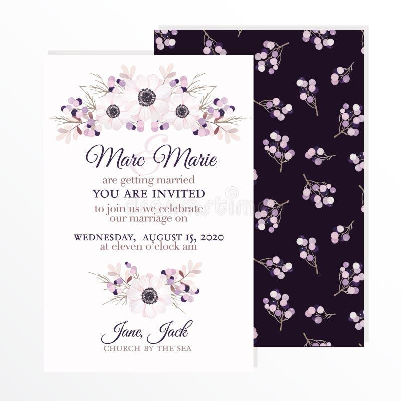 Invitation de mariage avec des fleurs anémone, branches et baies dans le style d'aquarelle de vintage Illustration de vecteur illustration stock