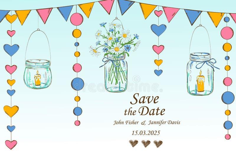 Invitation de mariage avec la décoration des pots et des fleurs accrochants illustration stock