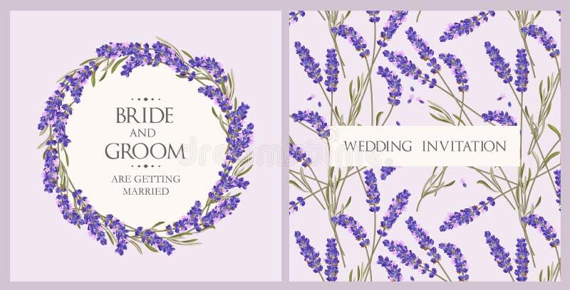 Invitation de mariage avec la lavande illustration stock