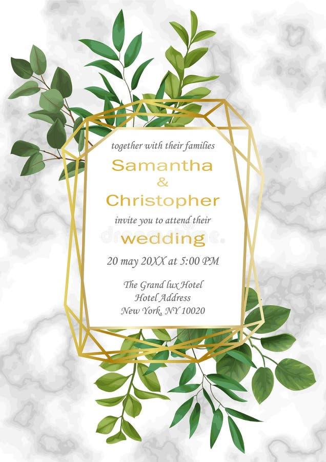 Invitation de mariage avec la verdure illustration de vecteur
