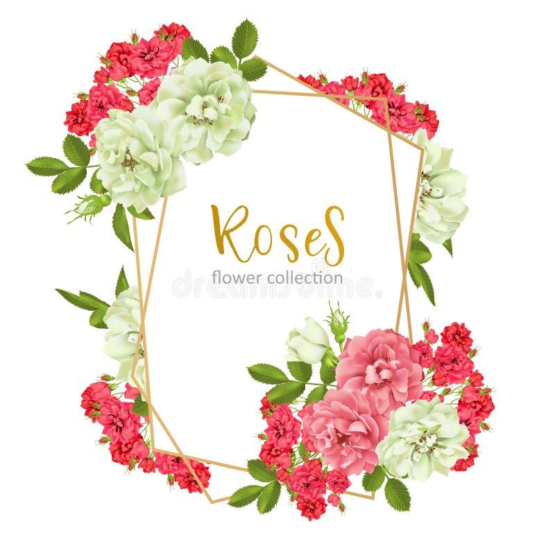 Invitation de mariage avec les fleurs roses sauvages illustration libre de droits