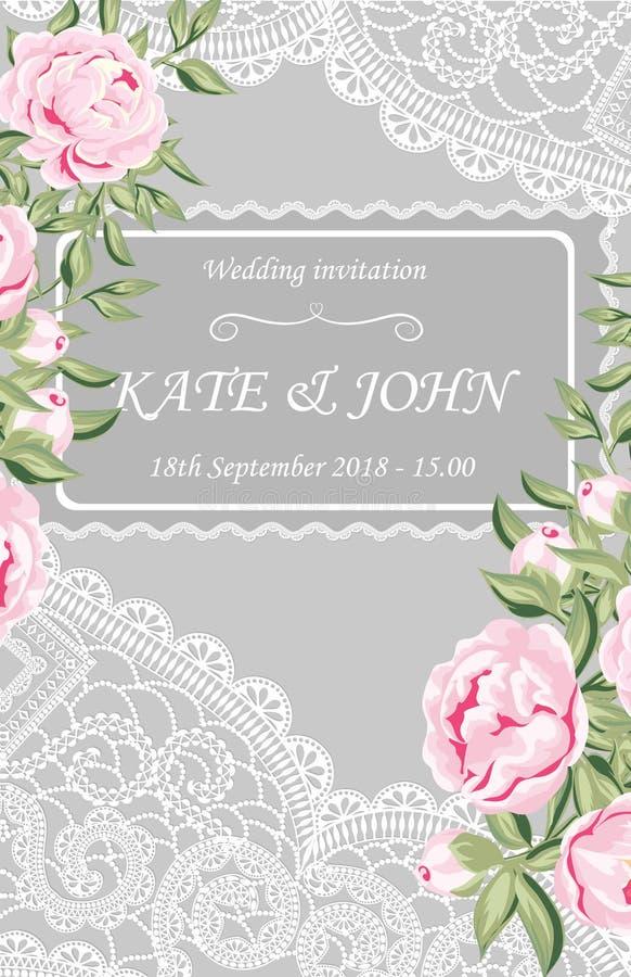 invitation de mariage avec les pivoines et la dentelle illustration stock