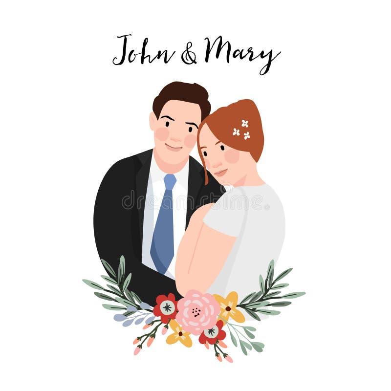 Invitation de mariage Beaux ajouter étreignants au bouquet des fleurs Concept de mariage et d'amour Conception plate Tiré par la  illustration de vecteur
