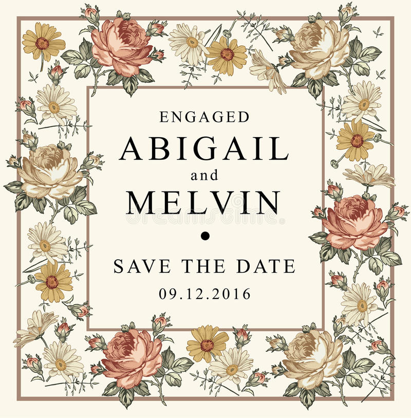 Invitation de mariage Belle camomille Rose de fleurs Carte de voeux de cru Vue Gravure de dessin illustration stock
