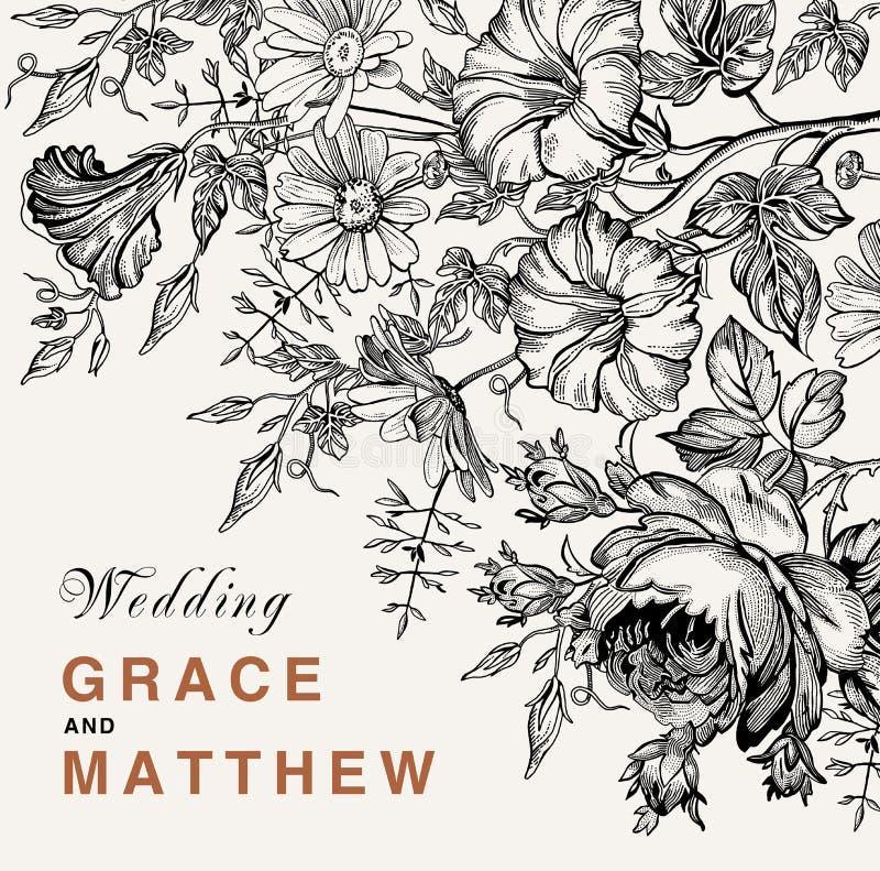 Invitation de mariage Belle carte de Rose de camomille de pétunia de fleurs Vue, label Illustration de victorian de vecteur illustration stock