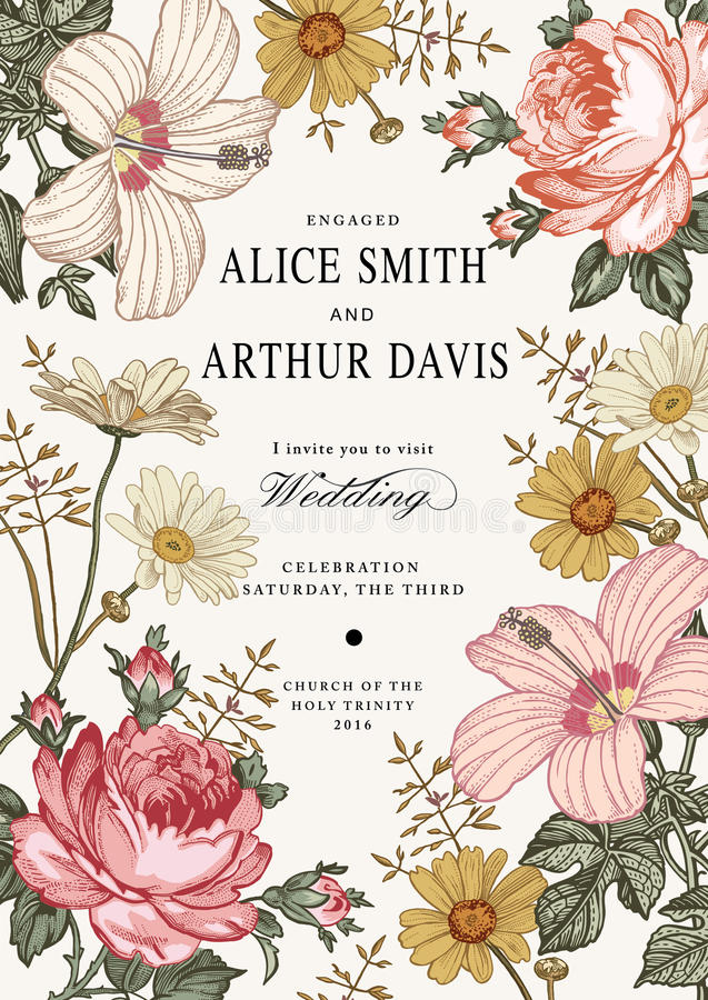 Invitation de mariage Belle mauve de ketmie de Rose de camomille de fleurs photos stock