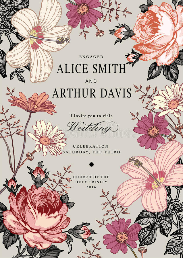 Invitation de mariage Belle mauve de ketmie de Rose de camomille de fleurs illustration de vecteur