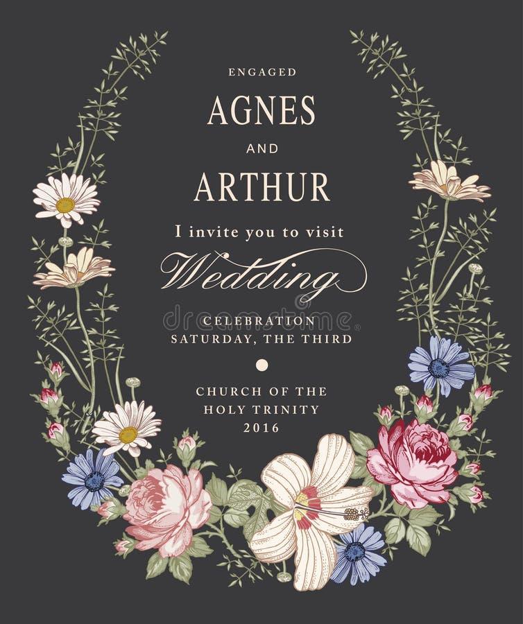 Invitation de mariage Belle mauve de ketmie de Rose de camomille de fleurs Carte de voeux de cru Vue Gravure de dessin illustration stock