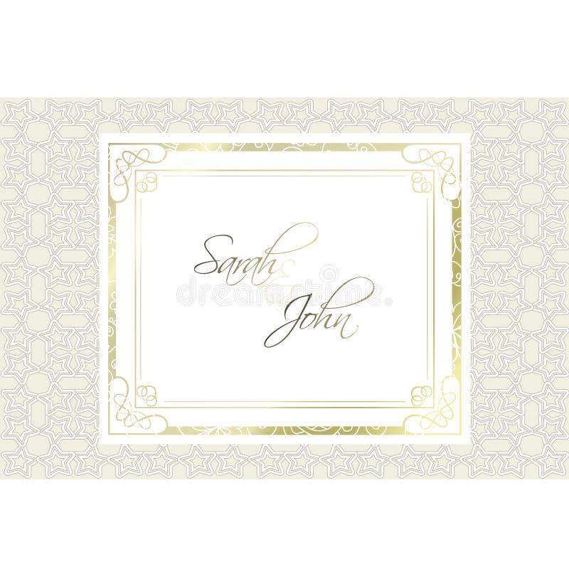 Invitation de mariage Cadre de rectangle de vintage Élément fleuri pour la conception Décor de luxe Place pour le texte Cadre d'o illustration stock