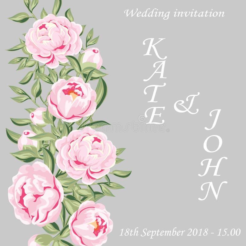 invitation de mariage, carte, carte de pivoine illustration libre de droits