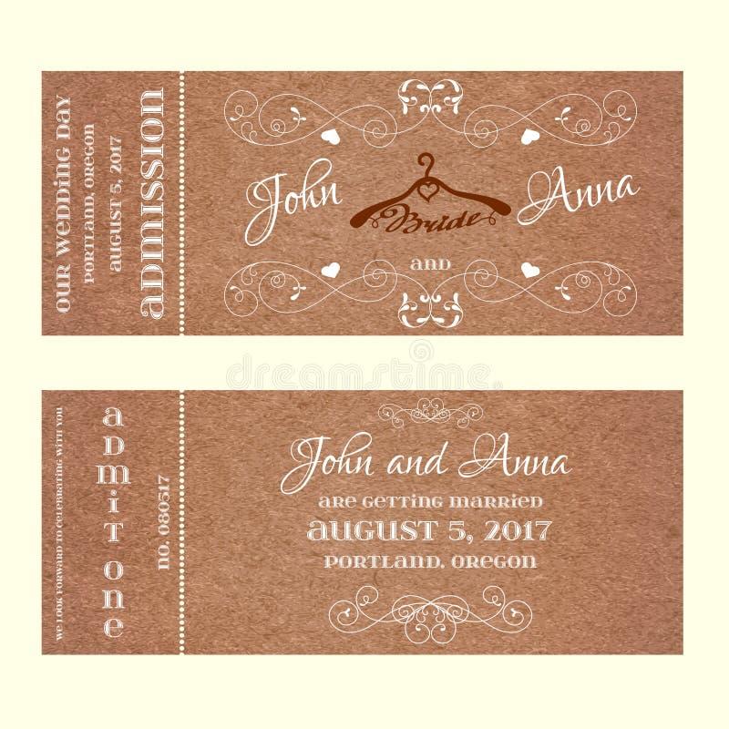 Invitation de mariage de billet avec des cintres pour la jeune mariée illustration stock
