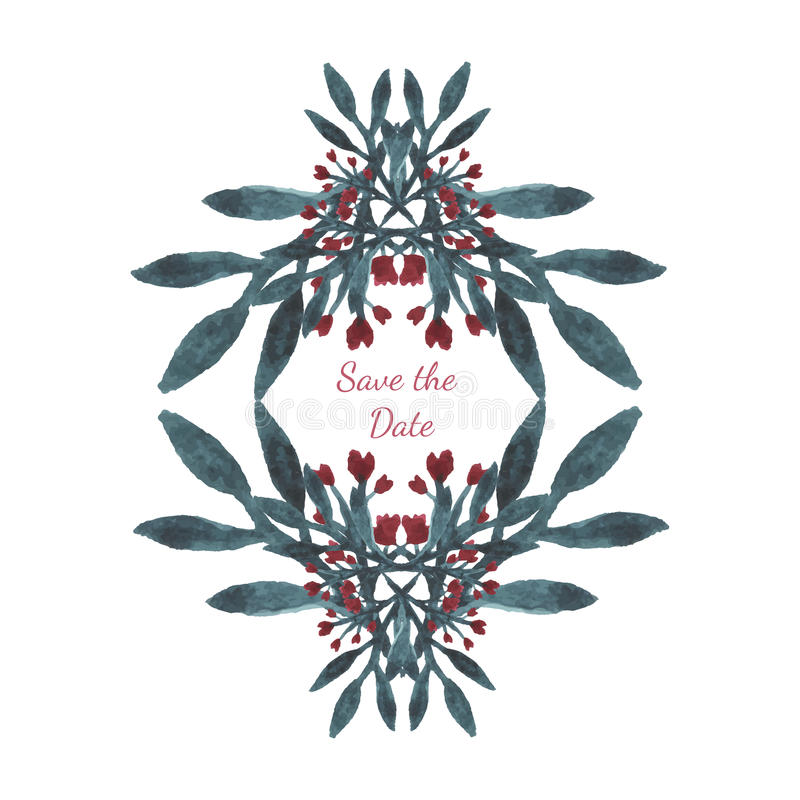 Invitation de mariage de couleur de vecteur d'aquarelle avec le cadre floral Belle carte avec les fleurs tirées par la main de co illustration de vecteur