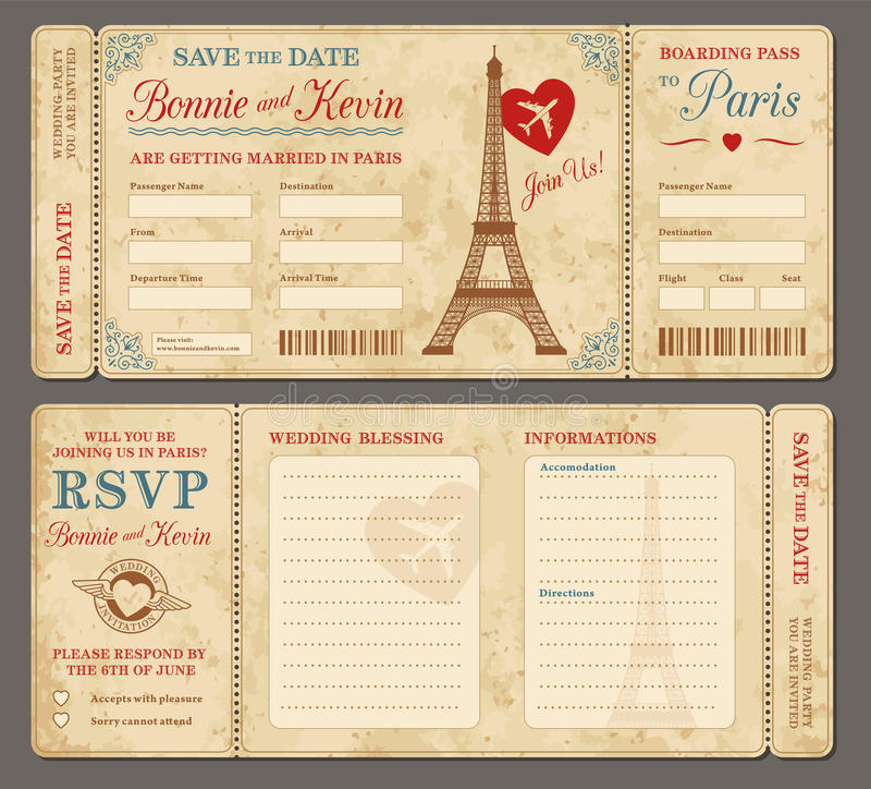 Invitation de mariage de Paris illustration de vecteur