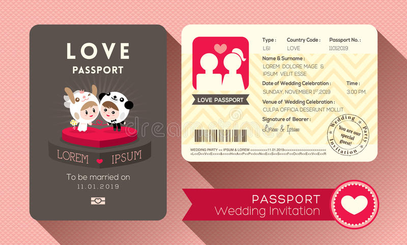 Invitation de mariage de passeport illustration de vecteur
