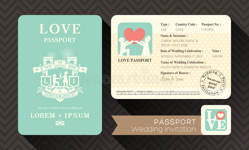 Invitation de mariage de passeport illustration stock