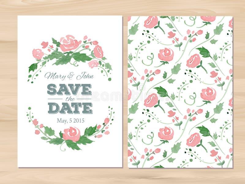 Invitation de mariage de vecteur avec des fleurs d'aquarelle illustration stock