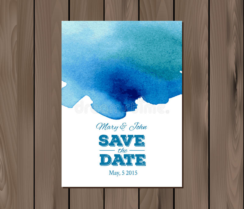 Invitation de mariage de vecteur avec la tache d'aquarelle illustration stock