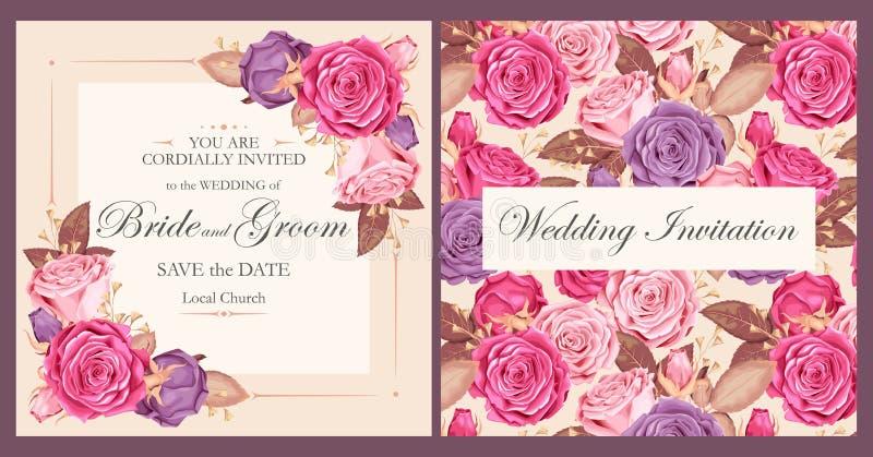 Invitation de mariage de vintage illustration stock