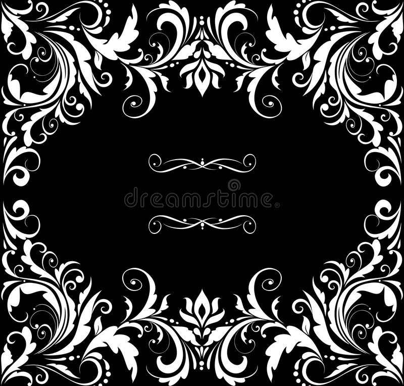 Invitation de mariage de vintage (noire et blanche) illustration de vecteur