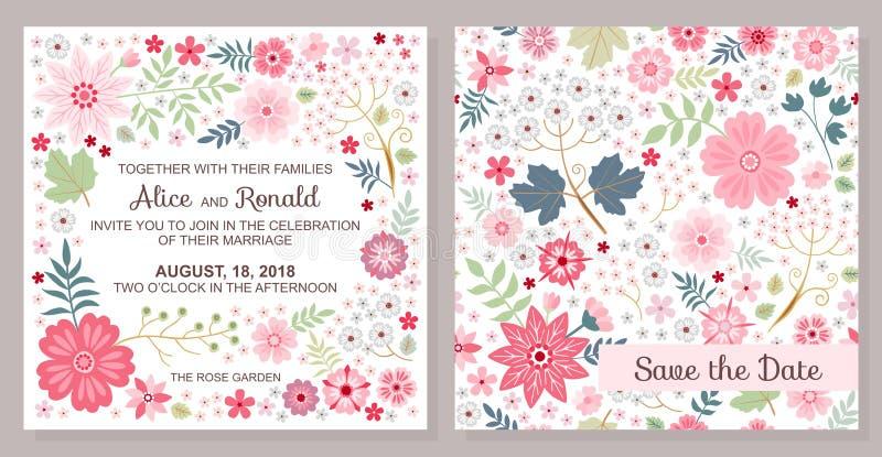 Invitation de mariage Faire gagner la datte Calibre de vecteur avec les fleurs roses mignonnes illustration stock