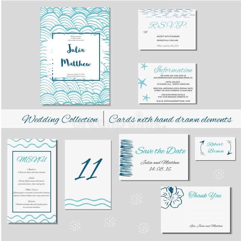 Invitation de mariage, merci, font gagner la date, fête de naissance, menu, l'information, RSVP illustration stock