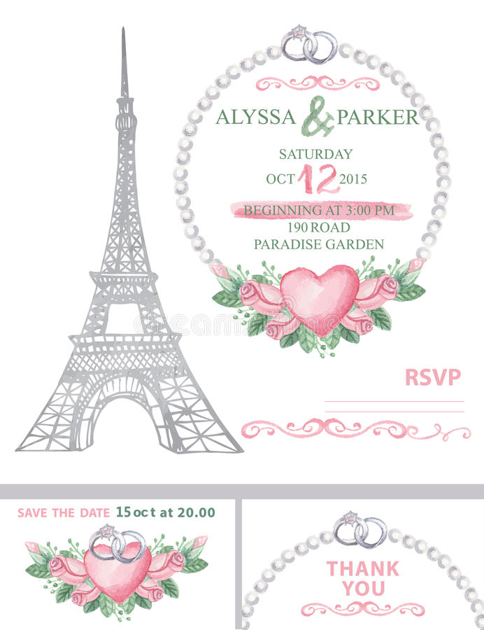 Invitation de mariage Tour Eiffel, aquarelle s'est levé illustration libre de droits