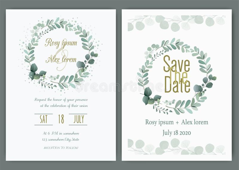 Invitation de mariage de verdure, invitation de mariage d'eucalyptus de calibre illustration libre de droits