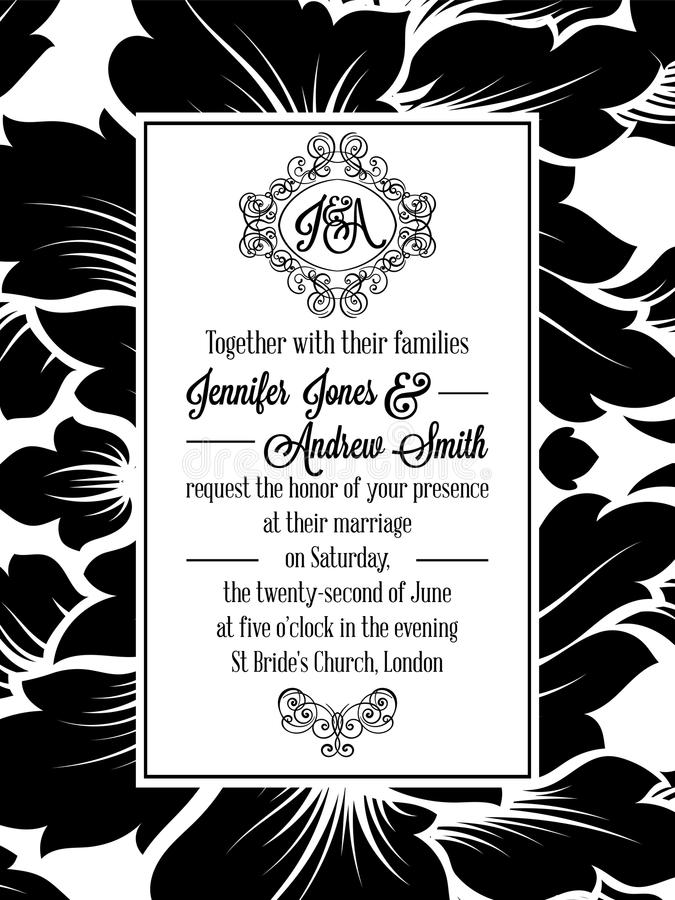 Invitation de modèle de brocard de victorian de damassé illustration stock